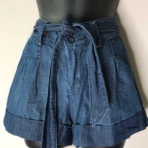 Lucky Brand Pleated Cuffed Denim Shorts